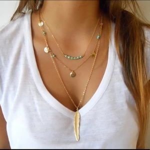 Jewelry - Boho Layered Gold Tone Turquoise Pendant Necklace